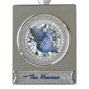 Beach Themed Blue Seashell Jewel Silver Plated Banner Ornament