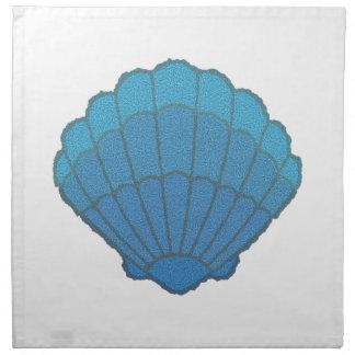 Blue Seashell Mosaic Cloth Napkin