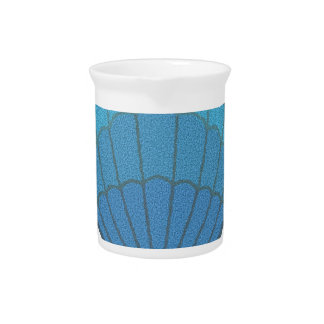 Blue Seashell Mosaic Drink Pitcher