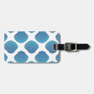Blue Seashell Mosaic Pattern Bag Tag