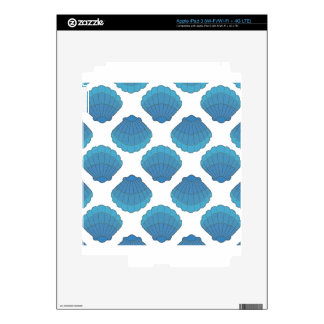 Blue Seashell Mosaic Pattern Decals For iPad 3