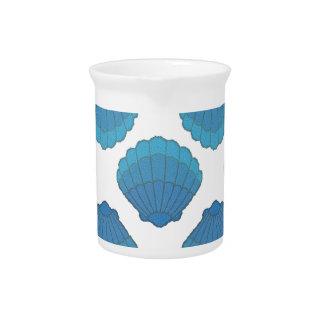 Blue Seashell Mosaic Pattern Drink Pitcher
