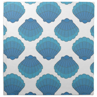 Blue Seashell Mosaic Pattern Napkin