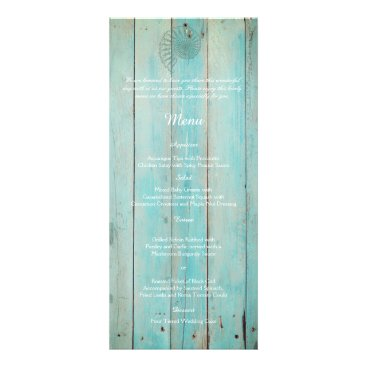 Beach Themed Blue Seashell on Wood Beach Wedding Menu