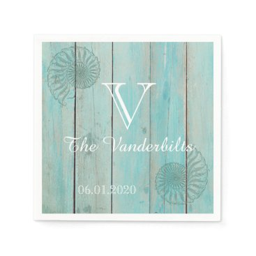 McTiffany Tiffany Aqua Blue Seashell on Wood Beach Wedding Napkin