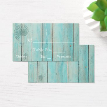McTiffany Tiffany Aqua Blue Seashell on Wood Beach Wedding Place Cards