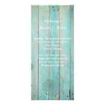 Blue Seashell on Wood Beach Wedding Program