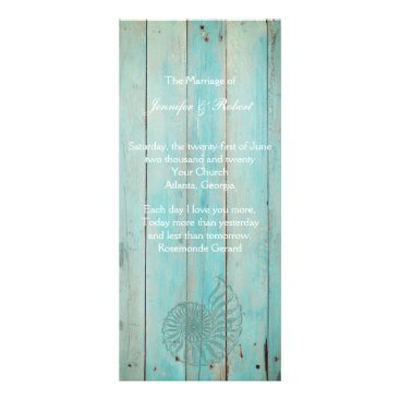Beach Themed Blue Seashell on Wood Beach Wedding Program