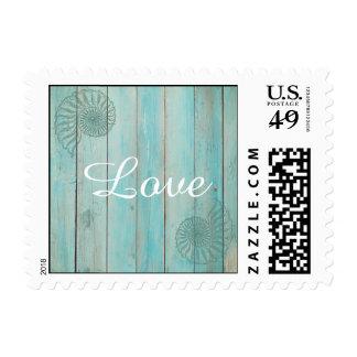 Blue Seashell on Wood Beach Wedding Stamp