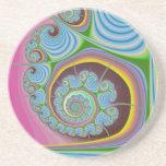Blue Seashell Spiral Fractal Drink Coaster