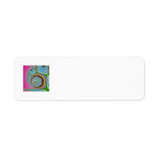 Blue Seashell Spiral Fractal Label