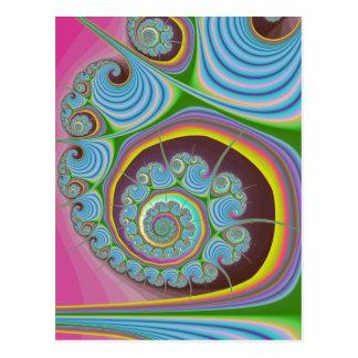 Blue Seashell Spiral Fractal Postcard