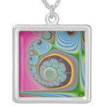 Blue Seashell Spiral Fractal Square Pendant Necklace