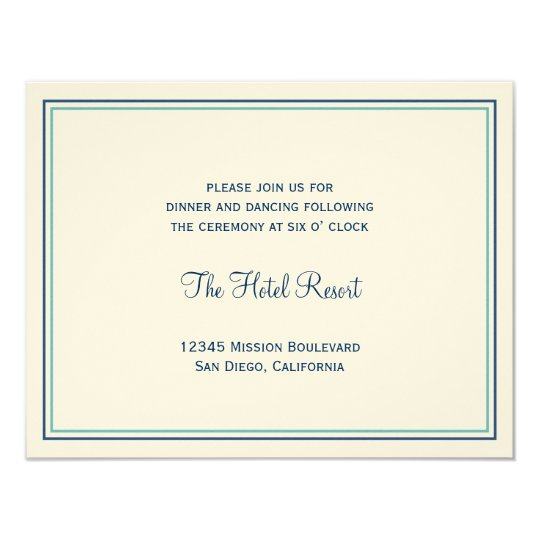 Blue seashell wedding wedding reception enclosure card