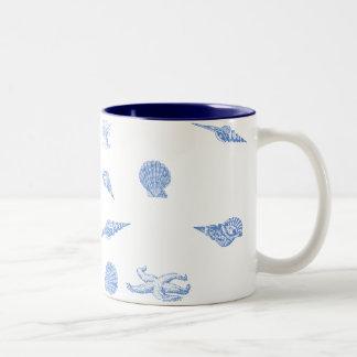 Blue Seashells and Starfish pattern mug