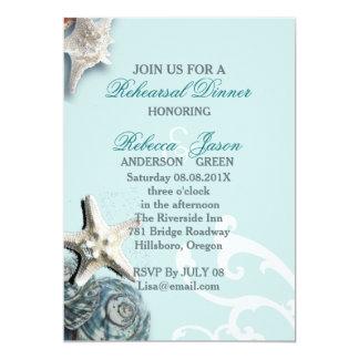 BLue Seashells Beach Wedding rehearsal dinner Card