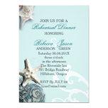 BLue Seashells Beach Wedding rehearsal dinner 5x7 Paper Invitation Card