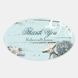 BLue Seashells Beach Wedding thank you Oval Sticker