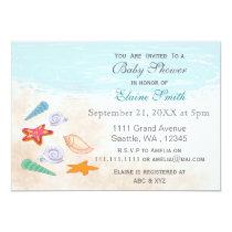 Blue seashells Ocean Beach Baby shower Invites