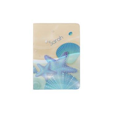 Beach Themed Blue Seashells Personalized Passport Holder