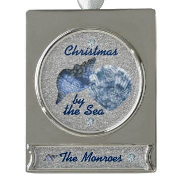 Beach Themed Blue Seashells Silver Faux Glitter Xmas by the Sea Silver Plated Banner Ornament
