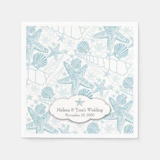 Blue Seashells Wedding or boy Baby Shower napkins