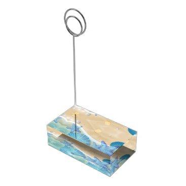 Beach Themed Blue Seashells Wedding Table Card Holder