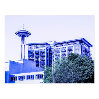 Blue Seattle Postcard