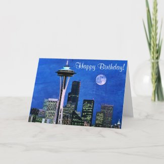 Blue Seattle Skyline Happy Birthday Card