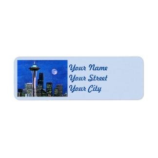 Blue Seattle Skyline Label