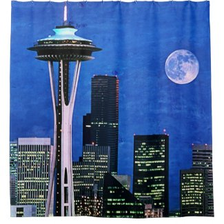 Blue Seattle Skyline Shower Curtain