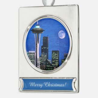 Blue Seattle Skyline Silver Plated Banner Ornament