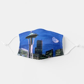 Blue Seattle Skyline Watercolor Painting Cloth Face Mask