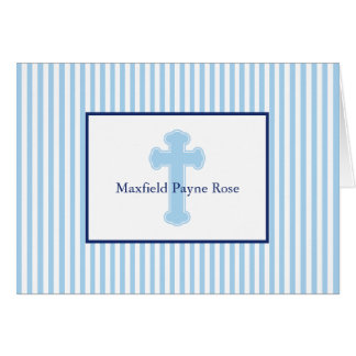 Blue Seersucker Baptism Cross Note Card