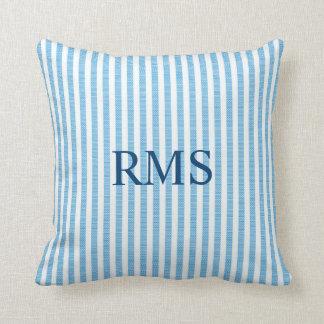 BLUE SEERSUCKER Stripe Pattern, Optional Monogram Throw Pillow