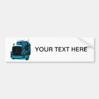 Blue Semi Truck Car Bumper Sticker