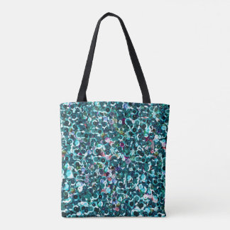 Blue Sequin Sparkles All Over Print Tote Bag