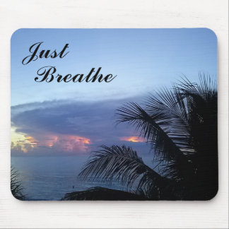 Blue Serene Palm Tree Ocean Sunrise Mouse Pad