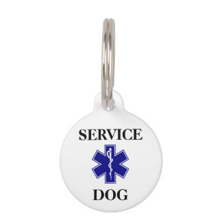 Blue Service Dog Personalized Medical Round ID Tag