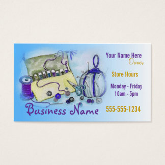 Blue Sewing Kit Business Card