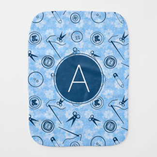 Blue Sewing Pattern with Monogram Baby Burp Cloth