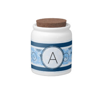 Blue Sewing Pattern with Monogram Candy Dish