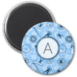Blue Sewing Pattern with Monogram 2 Inch Round Magnet