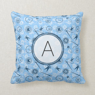 Blue Sewing Pattern with Monogram Pillows