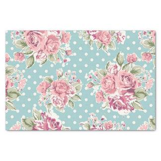"Blue ,shabby chic,polka dot white,floral pink,fun, 10"" x 15"" tissue paper"
