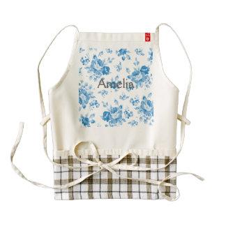 blue,shabby chic,roses,victorian,pattern,elegant,v zazzle HEART apron