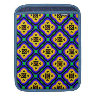 Blue Shabby Chic Royal Blue and Yellow Pattern iPad Sleeves