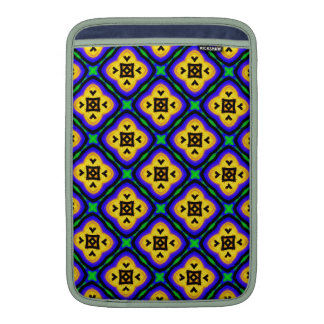 Blue Shabby Chic Royal Blue and Yellow Pattern MacBook Sleeves