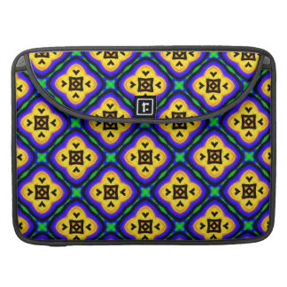 Blue Shabby Chic Royal Blue and Yellow Pattern Sleeves For MacBooks