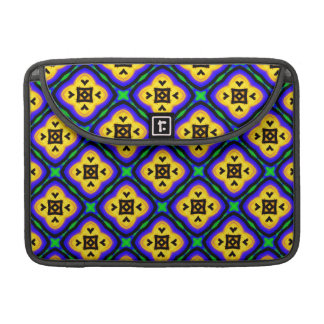 Blue Shabby Chic Royal Blue and Yellow Pattern Sleeve For MacBook Pro